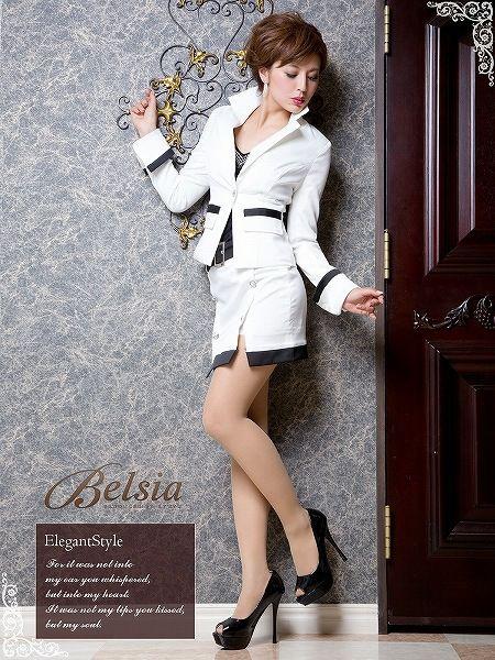 【BELSIA】sexyRichなメリハリトリミングsexyタイトミニキャバスーツ