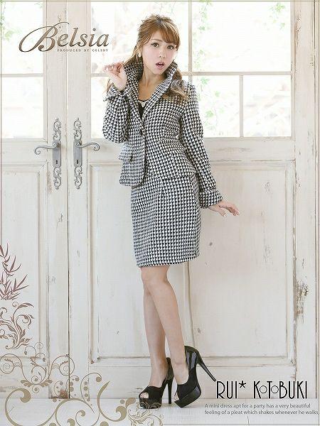 結婚式・お呼ばれに!美style千鳥格子柄ツイード上品ミディ丈スーツ,式スーツ 女性 フォーマル