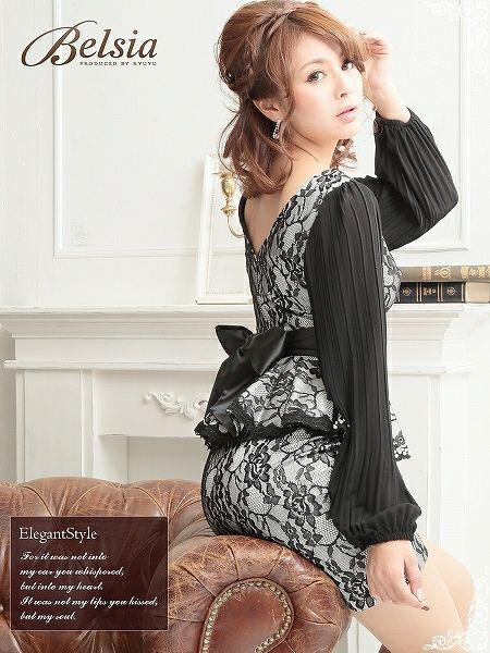 【BELSIA】高貴なダントツフォーマルLADYなフロッキーレース袖付きペプラムミニドレス