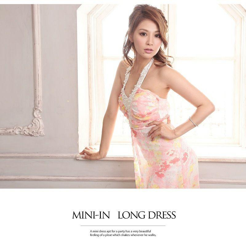 乙女優雅な花柄前ミニロングドレス/パステルflowerシフォン姫ドレス