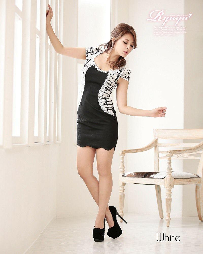 人気ドレス!チェックボレロ風キャバミニドレス ryuyu リューユ 大人チェック柄袖付きボレロ風レイヤードミニドレス キャバクラドレスに♪