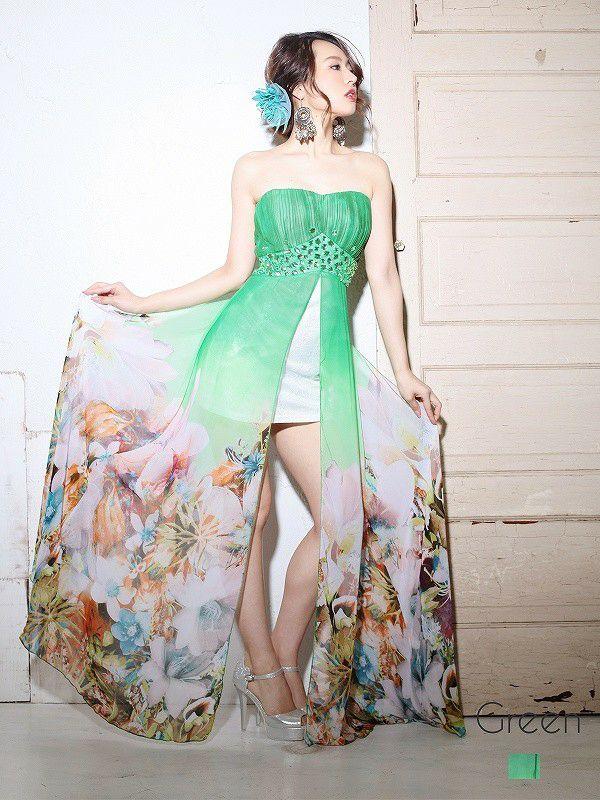【流遊】 和花柄ミニinシフォンロングドレス ryuyu リューユ 癒レース前ミニ華和柄キャバロングドレス