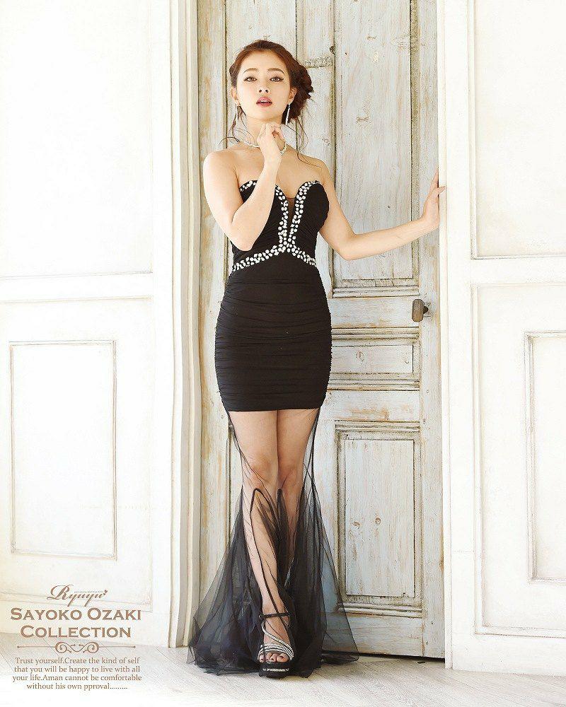マーメイドロングドレス 尾崎紗代子 着用ロングドレス ryuyu リューユ 美脚魅せストレッチメッシュキャバロングドレス