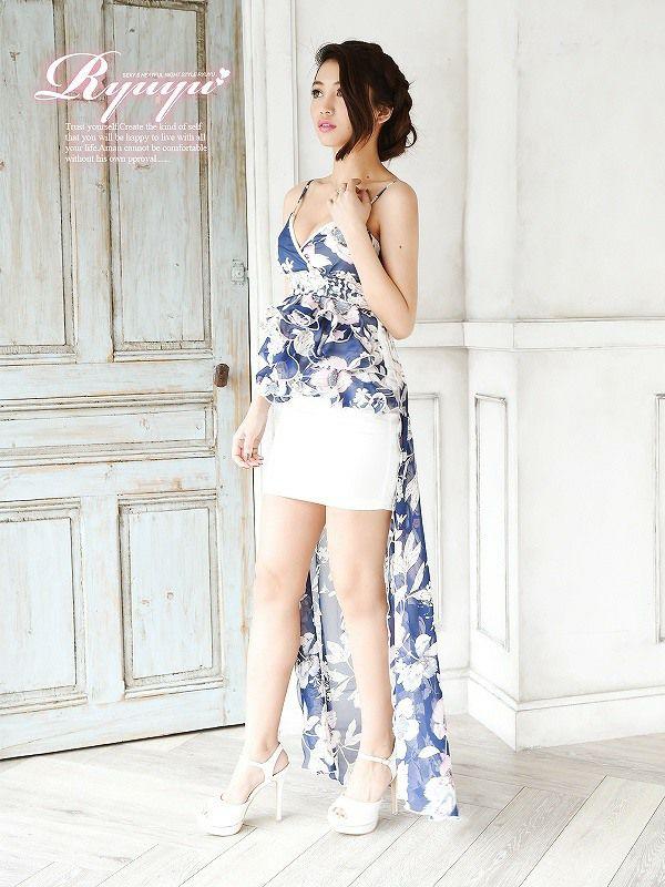 ネイビー花柄前ミニinロングドレス 安部ニコル 着用ロングドレス ryuyu リューユ フリルシフォンキャバロングドレス