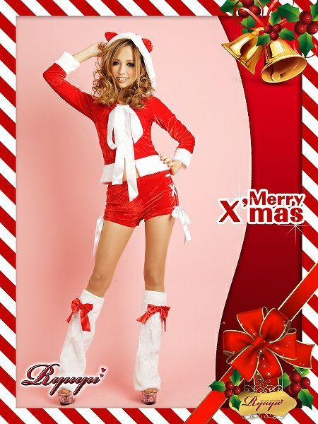 【即納】【サンタコスプレ】3点set!フワcuteな猫耳パーカーショーパンセット/サンタ衣装