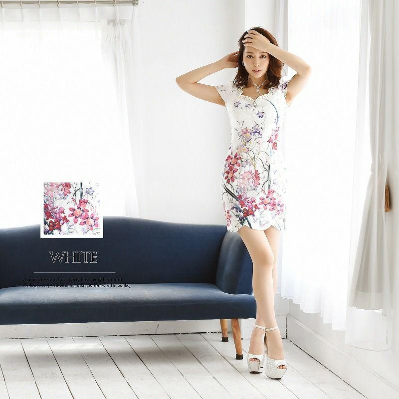 【BelsiaLux】大人floral!上質花柄袖付ミニドレス 花柄キャバクラドレス【ベルシアリュクス】