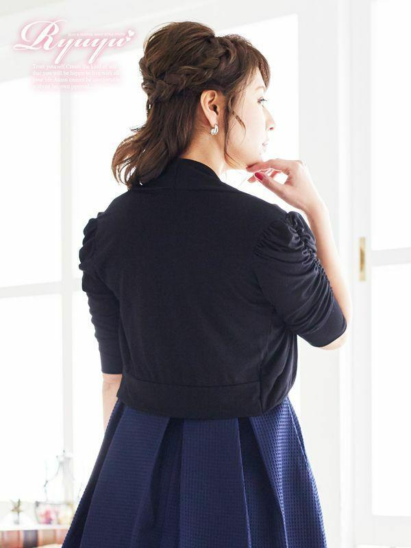 シャーリング袖付ボレロ ryuyu リューユ 結婚式ドレスやパーティードレスにも◎ キャバボレロ