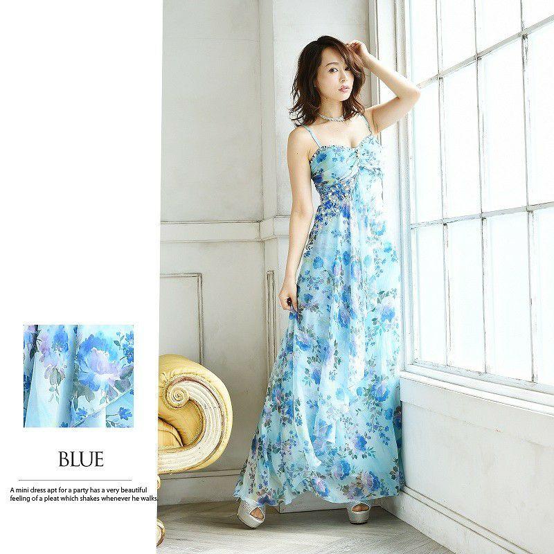 水彩エアリー花柄シフォンキャバロングドレス ryuyu リューユ 豪華ビジュー付シフォンロングドレス