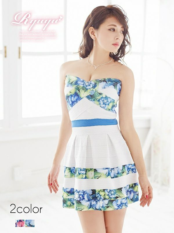 リゾートflower花柄バンテージドレス ryuyu リューユ バンテージフレアーベアミニキャバドレス
