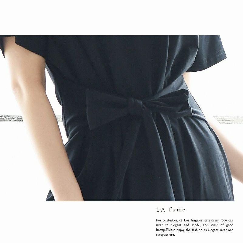 【LAfume】リラックス前結びゆったりTシャツキャバワンピース ビッグTシャツ カジュアル○ 袖付膝丈ワンピース 【ラフューム】