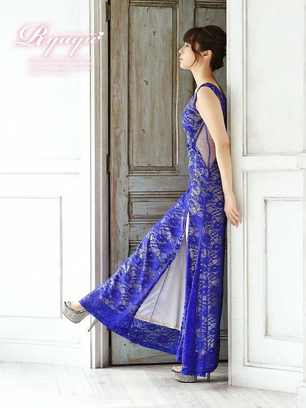 ウエスト透けsexy総レースキャバロングドレス ryuyu リューユ ゴージャスレースロングドレス