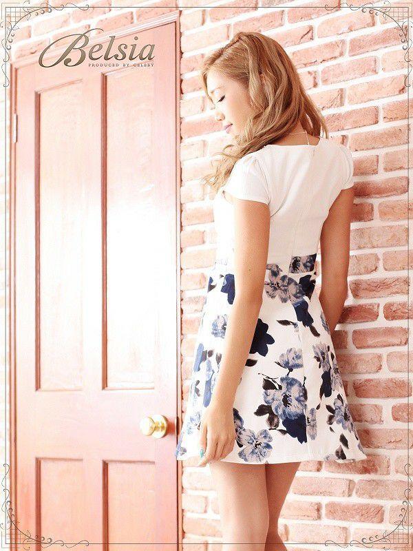 【Belsia】上質!ネイビー花柄フレアー袖付ミニドレス フレアーキャバクラドレス