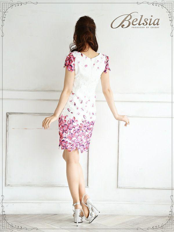 【Belsia】上質!総クロシェレース袖付花柄ミニドレス 花柄キャバクラドレス