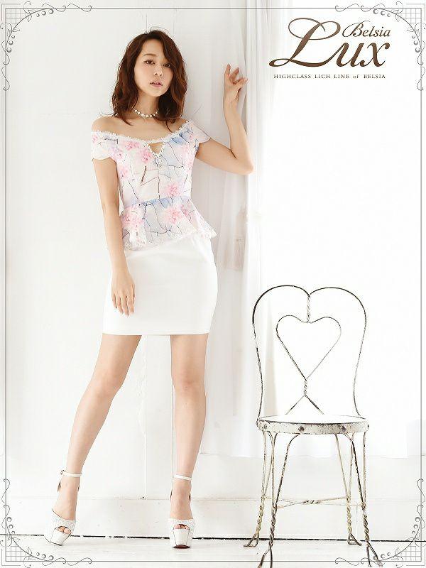 【BelsiaLux】上質ジャガードレース花柄ペプラムミニドレス 高級オフショルキャバクラミニドレス