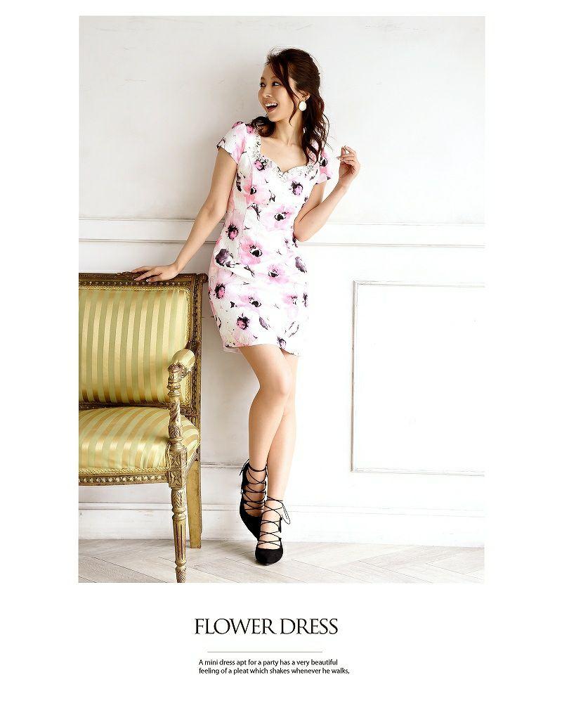 【BelsiaLux】上質!水彩花柄袖付ミニドレス 花柄キャバクラドレス【ベルシアリュクス】