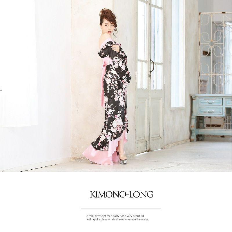 【流遊】 ふんわり癒し桜和華柄ロング着物ドレス ryuyu リューユ キャバクラ 花魁サテン ロングドレス