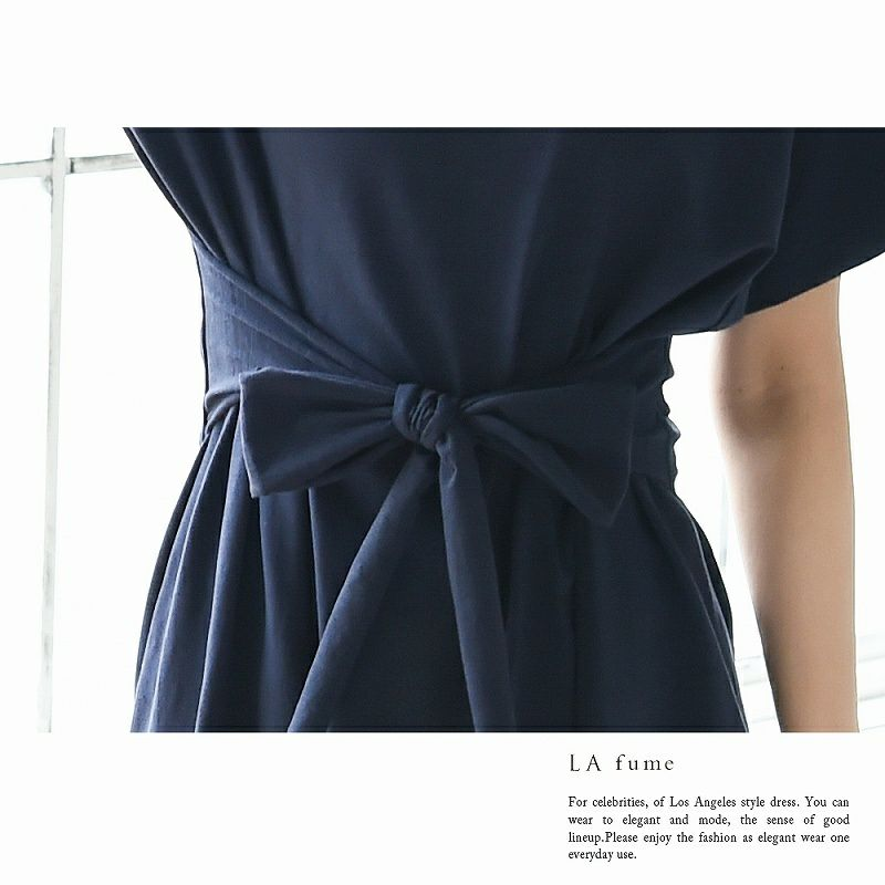 【LAfume】リラックス前結びゆったりTシャツキャバワンピース ビッグTシャツ カジュアル○ 袖付膝丈ワンピース