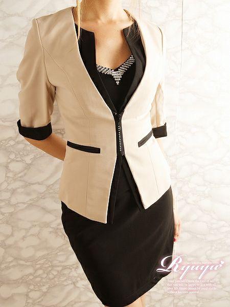 【訳ありアウトレット¥7380→¥6200】Jewelジップで美エレガントな配色厚手メッシュ品格半袖スーツ