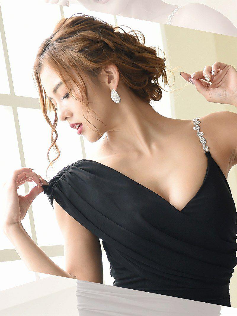 ジュエルストラップタイトキャバドレス【Ryuyuchick】【リューユチック】ドレープワンショルミニドレス