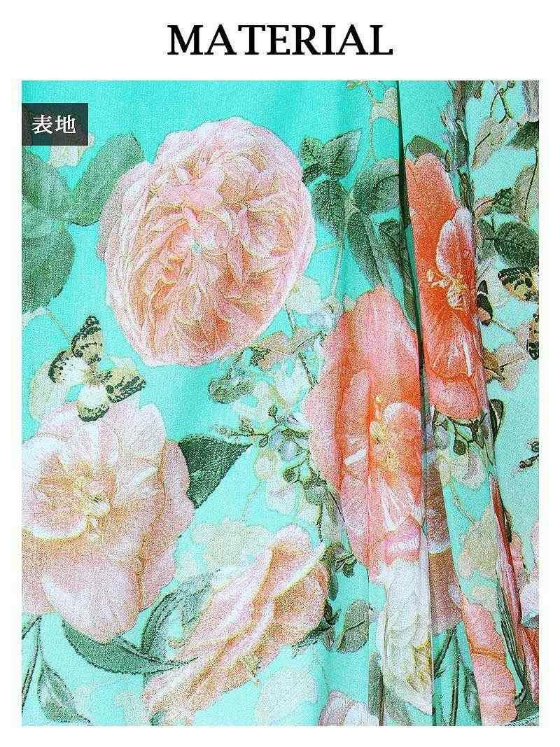 S/L/XLサイズ追加!! 【流遊】 花魁シフォン着物ドレス 尾崎紗代子 着用ドレス ryuyu リューユ 和華柄キャバクラ着物ドレス 和柄シフォンロングドレス