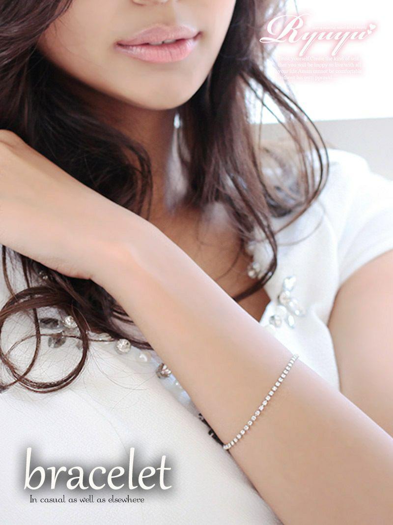 普段使いok!華奢魅せラインストーンブレスレット【Ryuyu】【リューユ】キャバドレスやパーティードレスにも◎アクセサリー