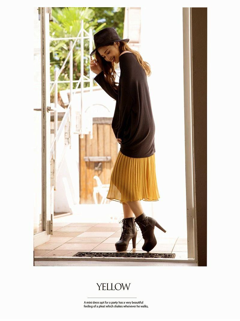 【Rvate】プリーツガウチョパンツ シフォンゆったりスカーチョ