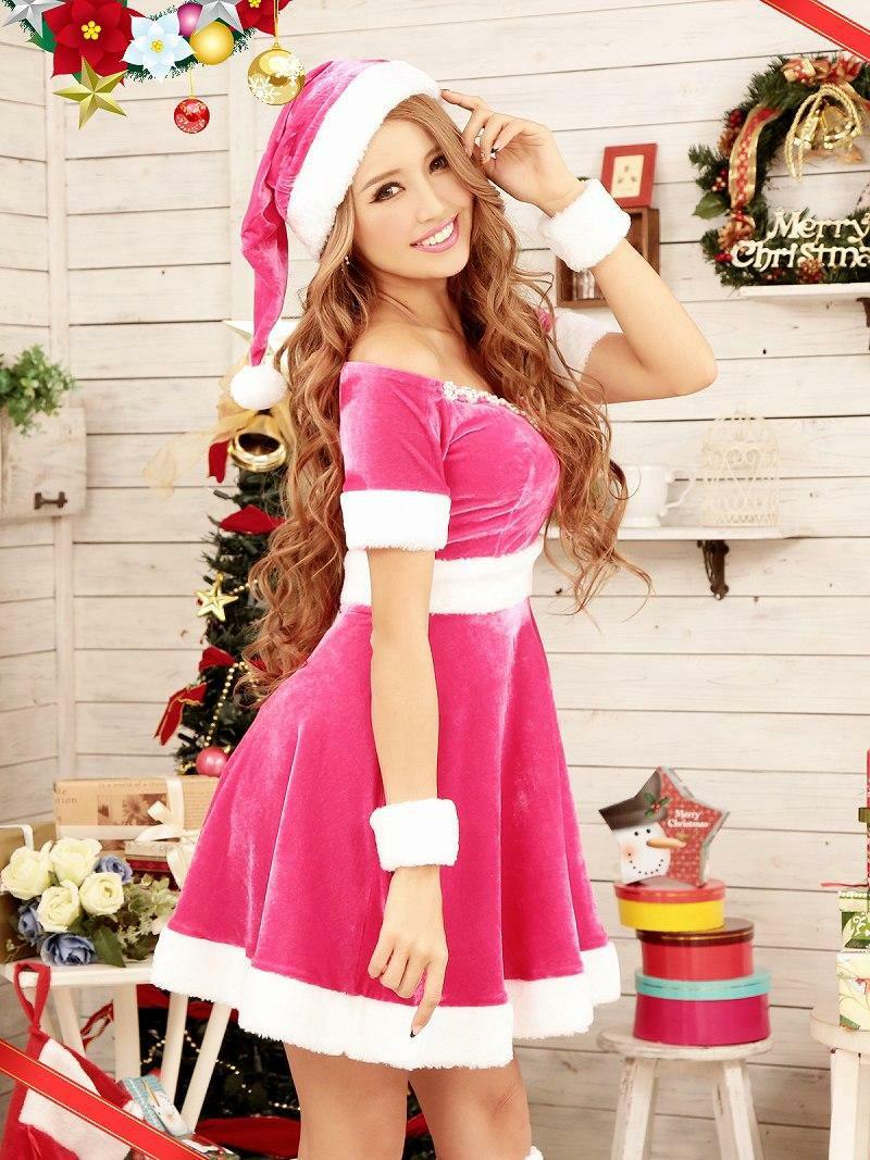 【即納】【サンタコスプレ】豪華5点set!!クリスマスピンクサンタ!! オフショルフレアーサンタドレスピンク