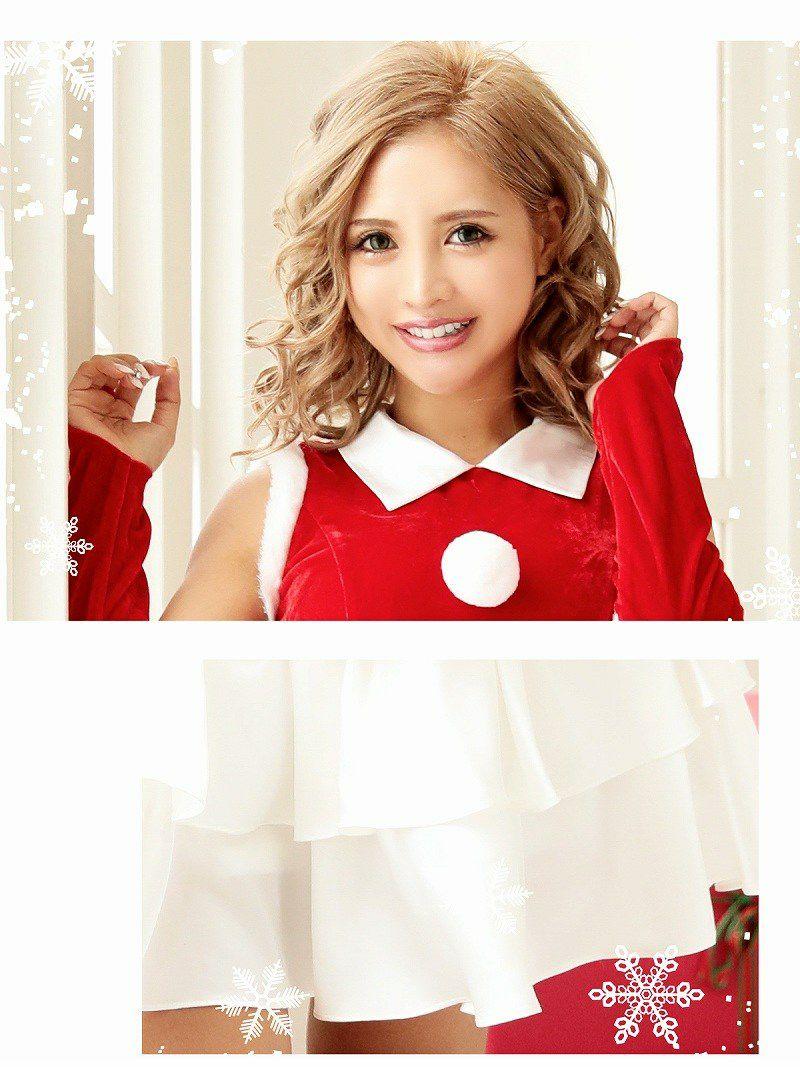【即納】 【サンタコスプレ2点セット】大きいサイズ完備!!ティアードフリルAラインサンタコスプレ キャバクライベントやクリスマスパーティーに◎