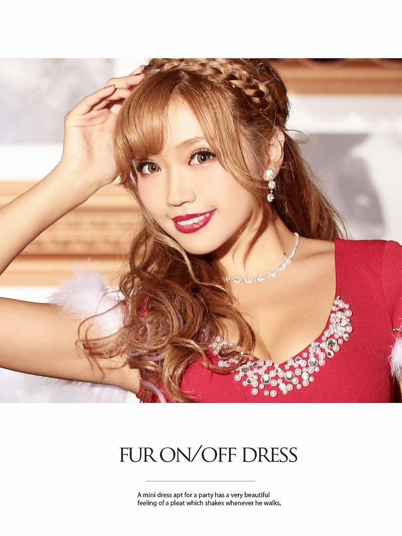 【即納】【サンタコスプレ3点set】クリスマスドレス2way◎ ファー取外しOK! 袖付きサンタミニドレス サンタドレス
