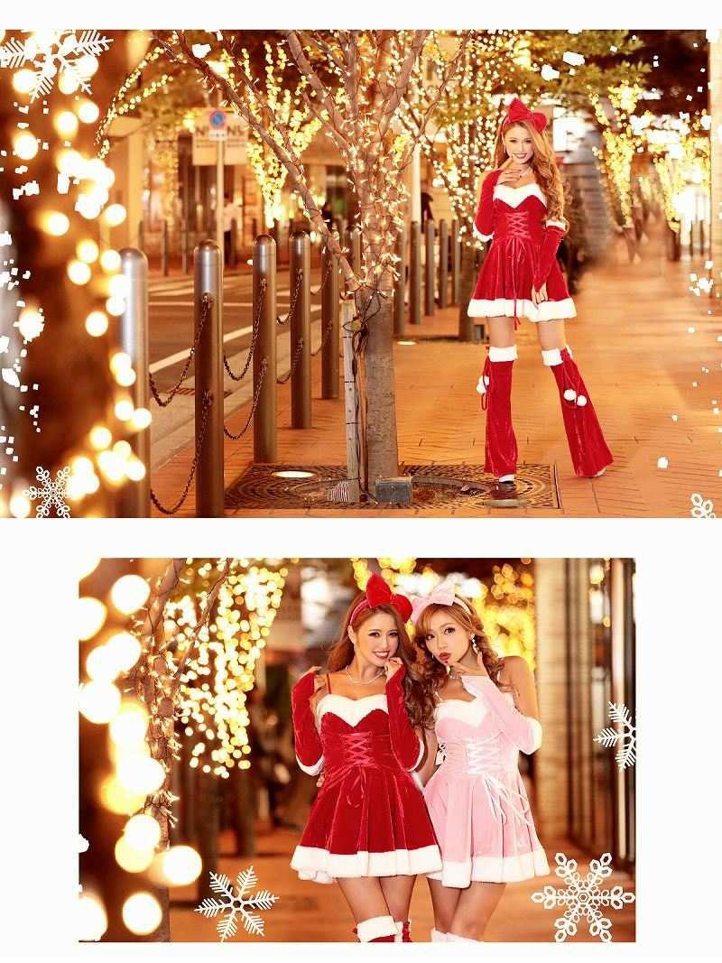 Lサイズ追加!【即納】【キャバサンタ4点set】フレアーラインとカチューシャで可愛いレースアップサンタコスプレ サンタドレス