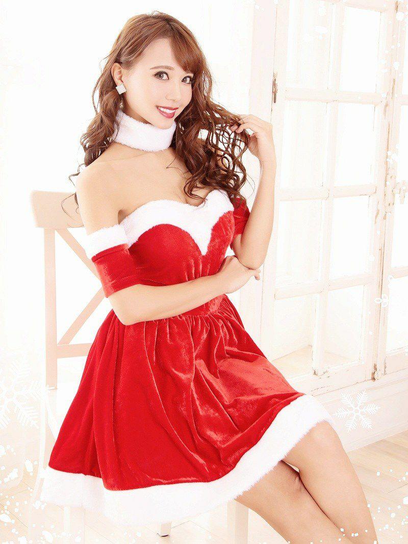 【即納】 【サンタコスプレ2点セット】チョーカー付オフショルサンタコスプレ フレアーベロアドレスキャバクライベントやクリスマスパーティーに◎