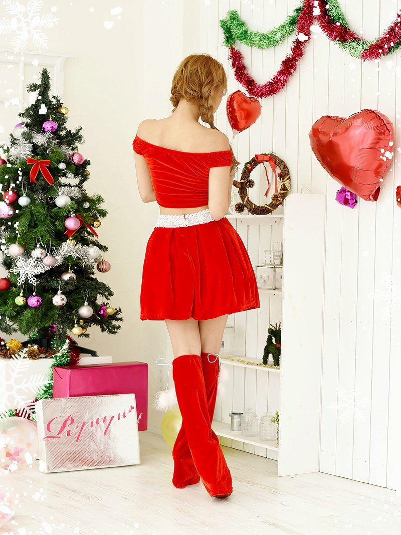 【即納】 【サンタコスプレ3点セット】お腹見せオフショル2pセットアップサンタコスプレ RiRi 着用ドレス キャバクライベントやクリスマスパーティーに◎