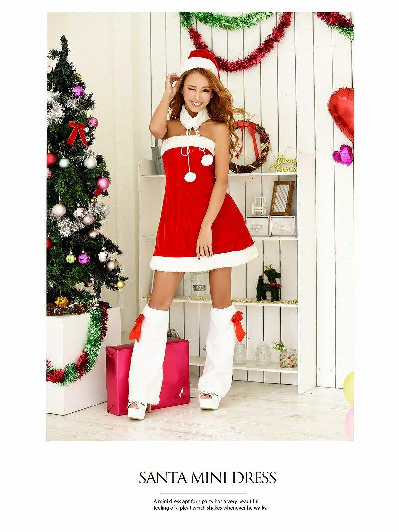 【即納】【サンタコスプレ4点set】ふわふわポンポンネックベアサンタワンピース 武田静加 着用ドレス キャバクライベントやクリスマスパーティーに◎