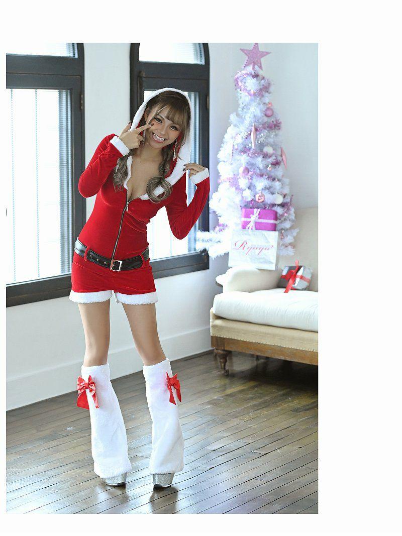 【即納】【サンタコスプレ3点セット】長袖パーカーオールインワンサンタコスプレ まぁみ 着用おうちサンタ キャバクライベントやクリスマスパーティーに◎