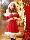【即納】【サンタコスプレ2点set】オフショルcuteなふんわりフレアー袖付サンタワンピ サンタドレス衣装
