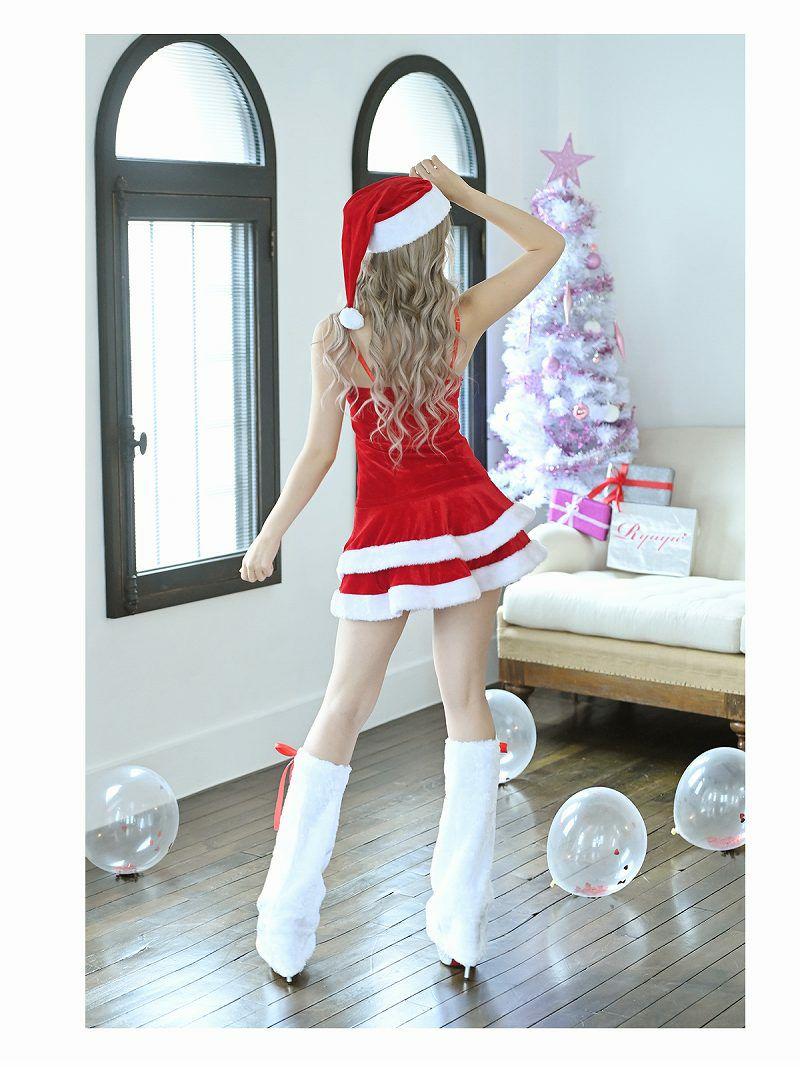 【即納】【サンタコスプレ4点セット】クリスマスサンタ二段フリルふわモコ2ピースサンタドレス ゆずは 着用キャバサンタ ルームウェア風おうちサンタ