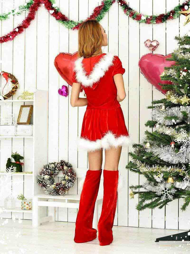 【即納】【サンタコスプレ3点set】半袖パーカーセットアップサンタコスプレ 武田静加 着用サンタ 中パンツスタイルサンタコスプレコスキャバクライベントやクリスマスパーティーに◎