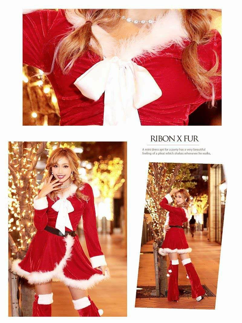 【即納】【サンタコスプレ3点セット】Lサイズ追加!! フード付き2pセットアップ長袖サンタコスプレ 中ミニパンツ付ベロアドレス キャバクライベントやクリスマスパーティーに◎