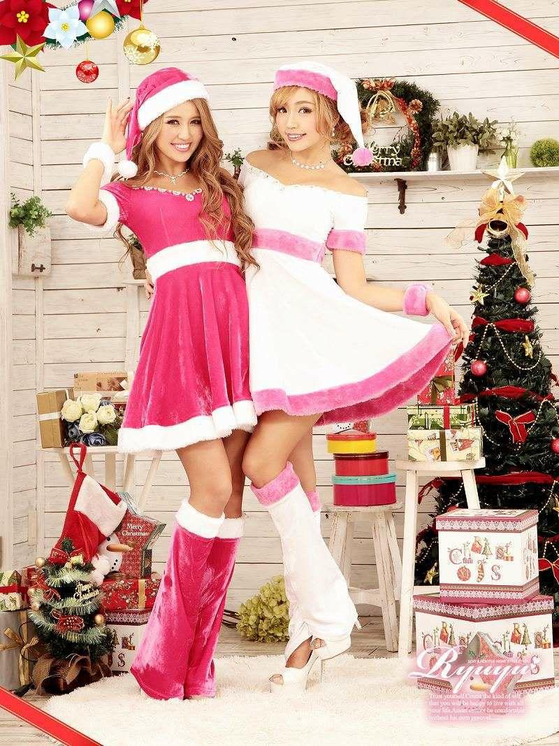 【即納】【サンタコスプレ】豪華5点set!!クリスマスホワイトサンタ!! オフショルフレアーサンタドレス白