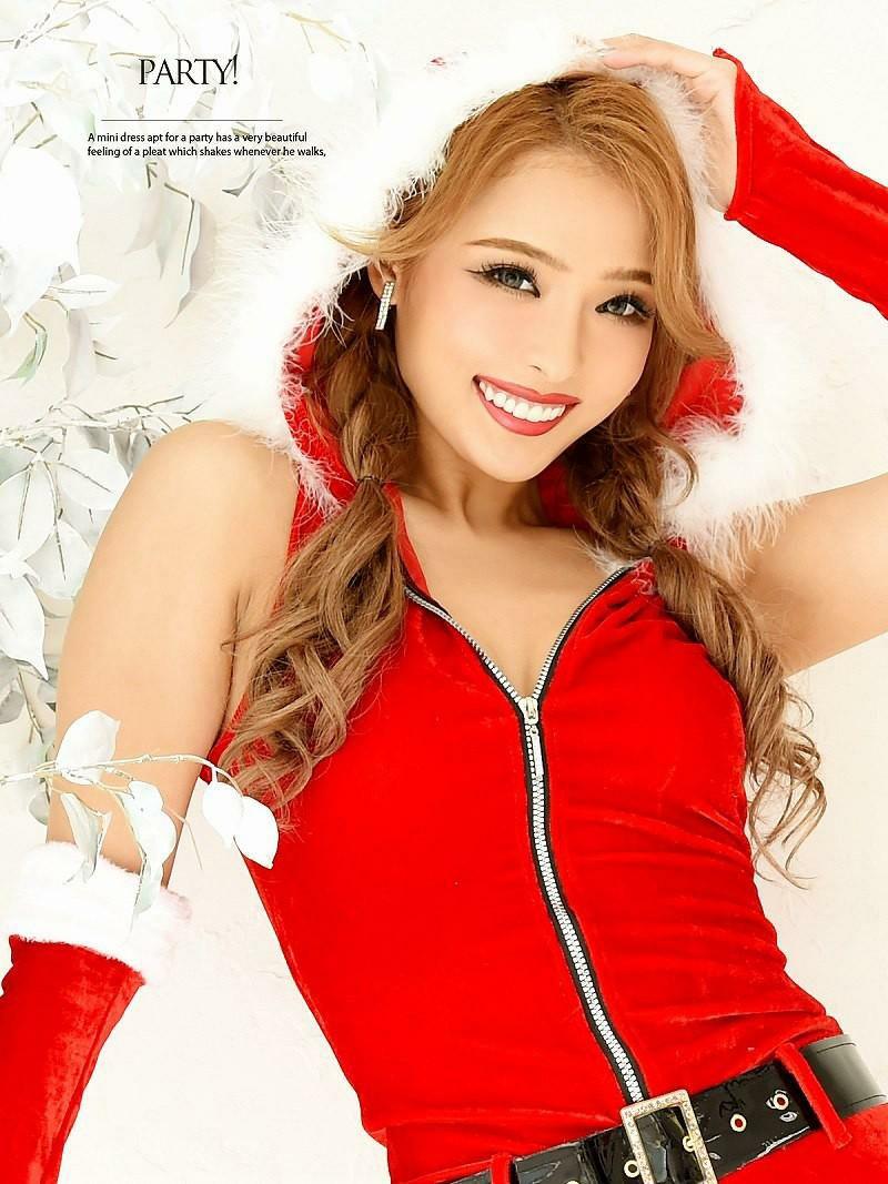 【即納】 【サンタコスプレ4点set】Lサイズ追加!パーカーオールインワンサンタコスチューム RiRi 着用ドレス キャバクライベントやクリスマスパーティーに◎