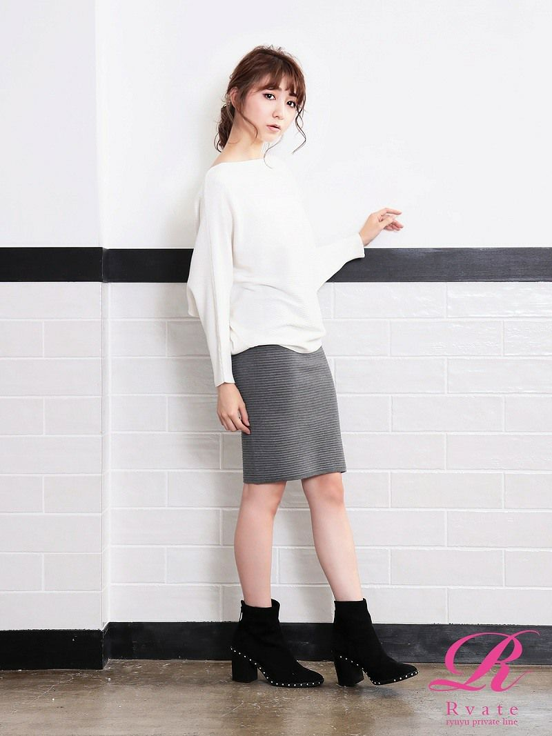 【Rvate】美lineニットタイトスカート 膝丈ペンシルスカート