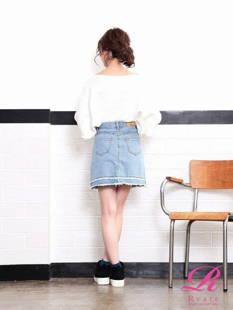 【Rvate】着回し力◎台形デニムスカート 裾フリンジボトムス