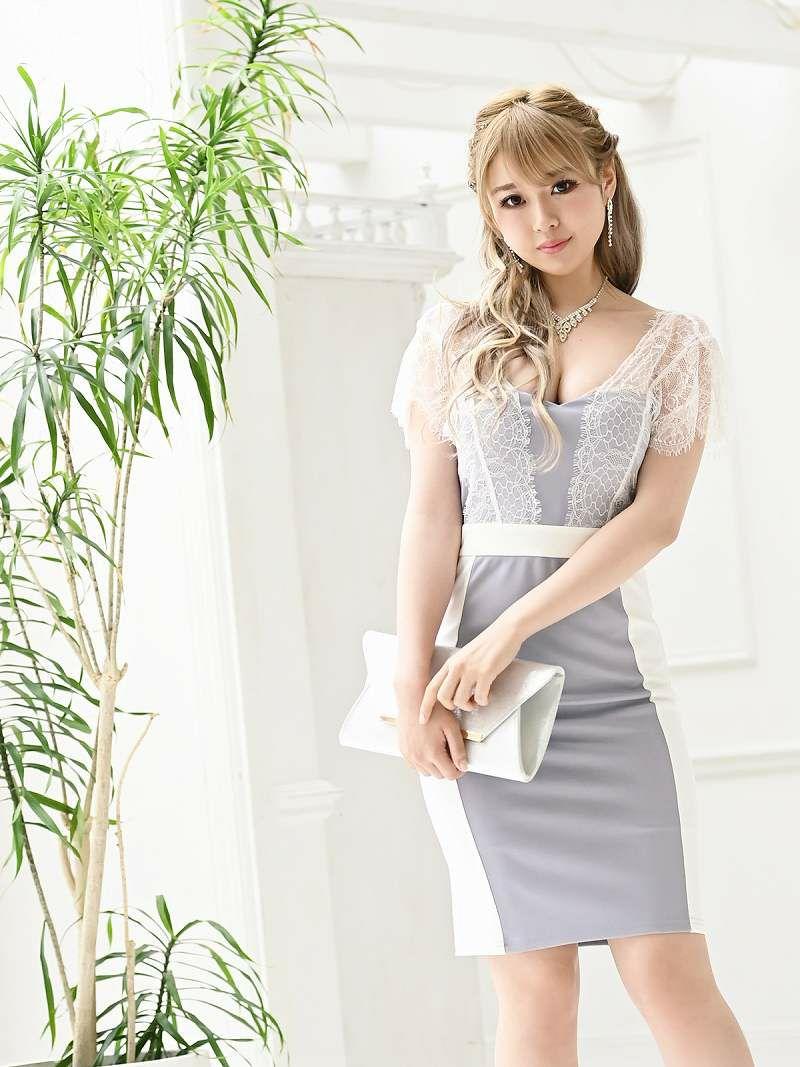 透けレースバイカラーミニドレス ゆずは 着用キャバドレス【Ryuyu/リューユ】