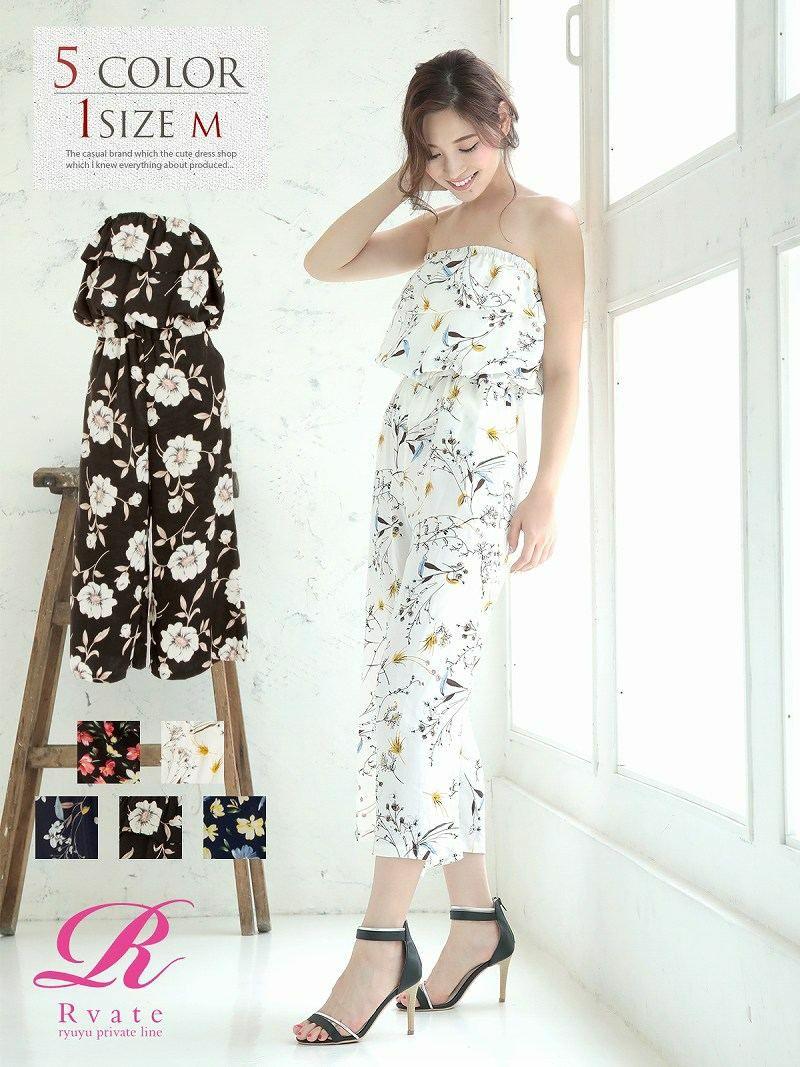 【Rvate】ティアードフリル花柄オールインワン レトロガーリーベアトップサロペット