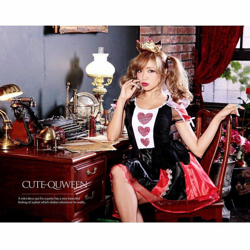 【即納】【キャバコスプレ!!】ハートクイーン!不思議の国のアリス 乙女CUTEなハートの女王コスプレ3点SET