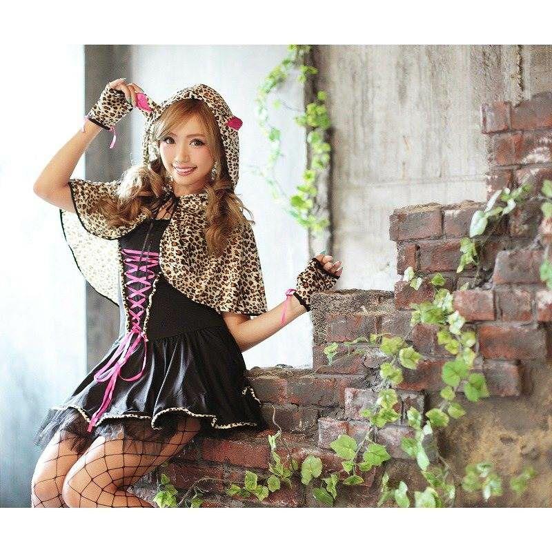 【即納】【キャバコスプレ!!】愛されレオパードCAT!乙女cuteな豹柄ポンチョ付アニマルコスプレ3点SET