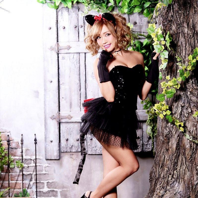 【即納】【キャバコスプレ!!】ブラックキャット!ボリュームパニエ赤リボンcuteな猫耳コスプレ5点SET