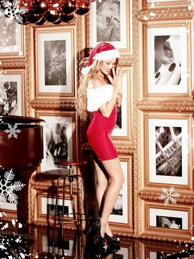 【即納】【サンタコスプレ2点set】オリジナル!最強LUXURYなゴージャスファー大人LADYな赤タイトサンタドレス  クリスマス