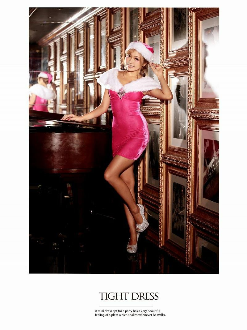 Lサイズ追加!【即納】【サンタコスプレ2点セット】Pinkオリジナル!最強LUXURYなゴージャスファーサンタドレス  LADYなピンククリスマス衣装