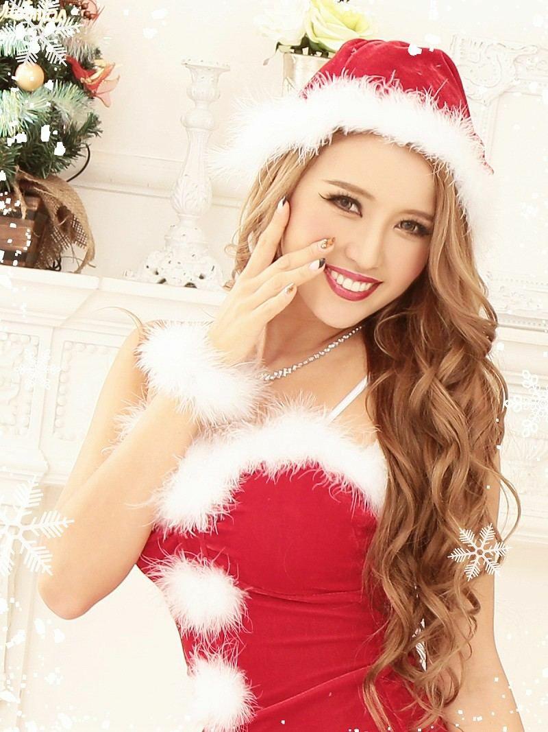 【即納】 【サンタコスプレ4点set】大人の魅惑スリットでsexyな2ピースロングサンタドレス キャバクラサンタドレス